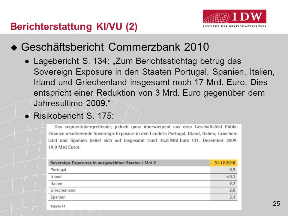 25 Berichterstattung KI/VU (2)  Geschäftsbericht Commerzbank 2010 Lagebericht S.
