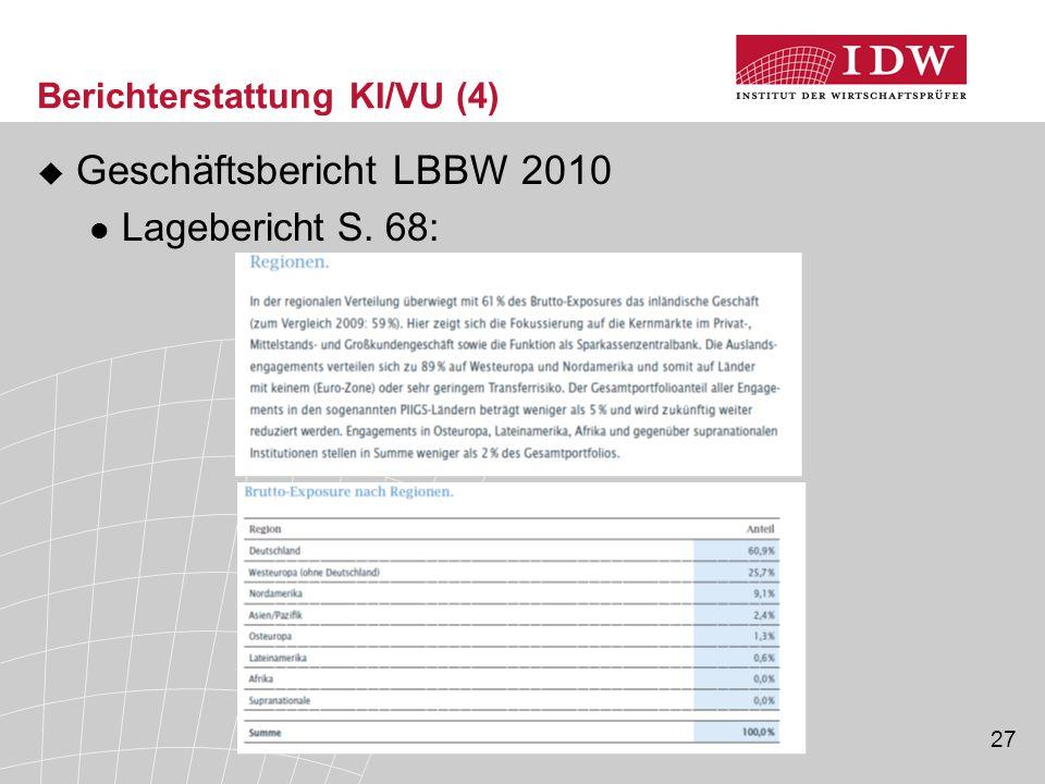 27 Berichterstattung KI/VU (4)  Geschäftsbericht LBBW 2010 Lagebericht S. 68:
