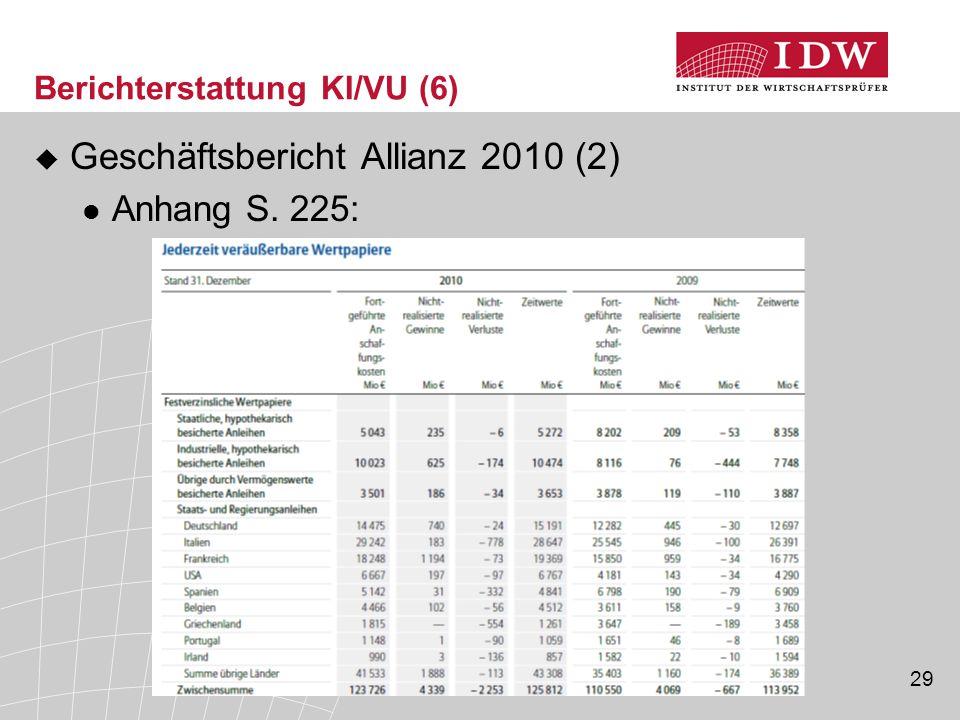 29 Berichterstattung KI/VU (6)  Geschäftsbericht Allianz 2010 (2) Anhang S. 225: