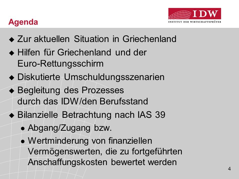 4 Agenda  Zur aktuellen Situation in Griechenland  Hilfen für Griechenland und der Euro-Rettungsschirm  Diskutierte Umschuldungsszenarien  Begleitung des Prozesses durch das IDW/den Berufsstand  Bilanzielle Betrachtung nach IAS 39 Abgang/Zugang bzw.