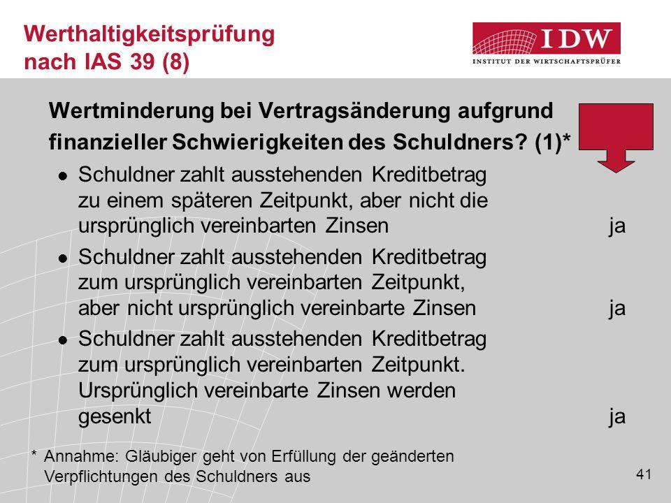 41 Werthaltigkeitsprüfung nach IAS 39 (8) Wertminderung bei Vertragsänderung aufgrund finanzieller Schwierigkeiten des Schuldners.