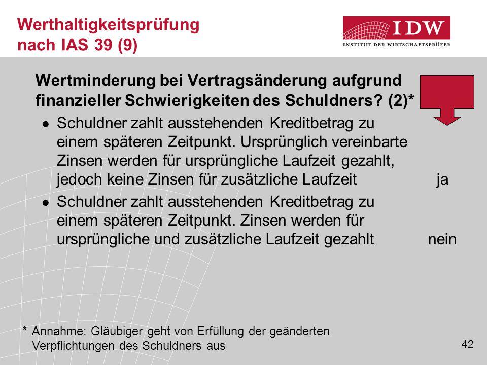 42 Werthaltigkeitsprüfung nach IAS 39 (9) Wertminderung bei Vertragsänderung aufgrund finanzieller Schwierigkeiten des Schuldners.
