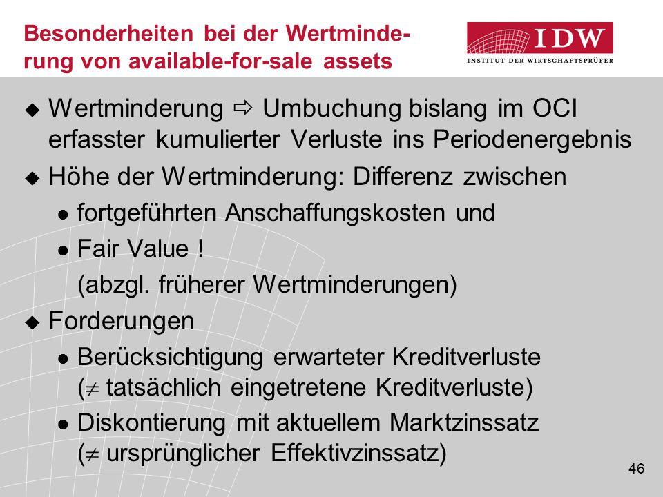 46 Besonderheiten bei der Wertminde- rung von available-for-sale assets  Wertminderung  Umbuchung bislang im OCI erfasster kumulierter Verluste ins Periodenergebnis  Höhe der Wertminderung: Differenz zwischen fortgeführten Anschaffungskosten und Fair Value .