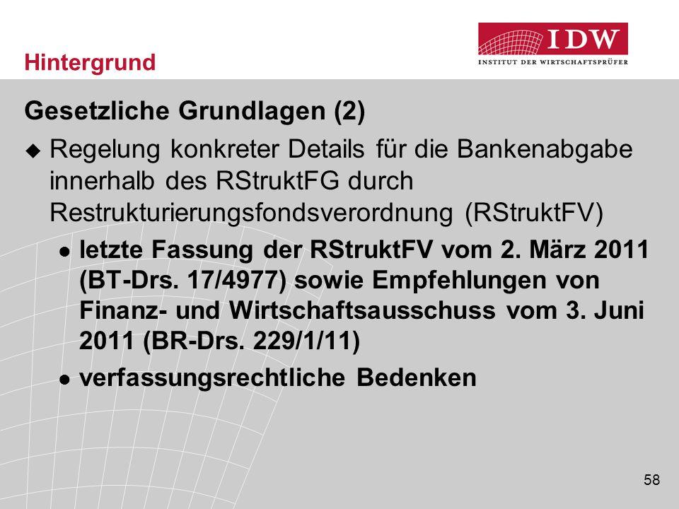58 Hintergrund Gesetzliche Grundlagen (2)  Regelung konkreter Details für die Bankenabgabe innerhalb des RStruktFG durch Restrukturierungsfondsverordnung (RStruktFV) letzte Fassung der RStruktFV vom 2.