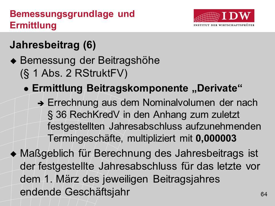 64 Bemessungsgrundlage und Ermittlung Jahresbeitrag (6)  Bemessung der Beitragshöhe (§ 1 Abs.