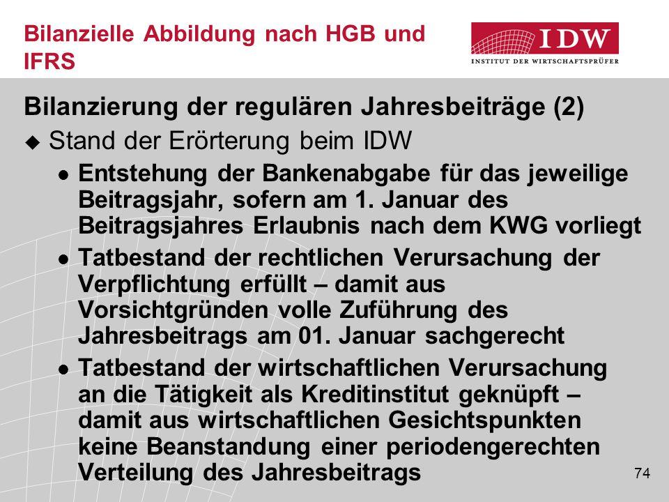 74 Bilanzielle Abbildung nach HGB und IFRS Bilanzierung der regulären Jahresbeiträge (2)  Stand der Erörterung beim IDW Entstehung der Bankenabgabe für das jeweilige Beitragsjahr, sofern am 1.