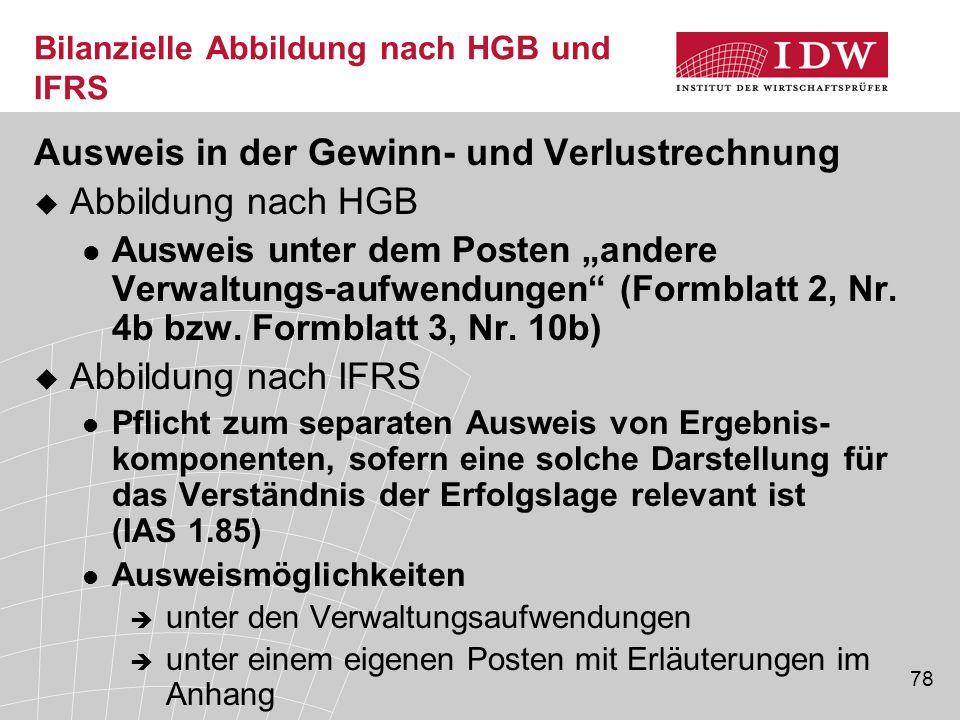 """78 Bilanzielle Abbildung nach HGB und IFRS Ausweis in der Gewinn- und Verlustrechnung  Abbildung nach HGB Ausweis unter dem Posten """"andere Verwaltungs-aufwendungen (Formblatt 2, Nr."""