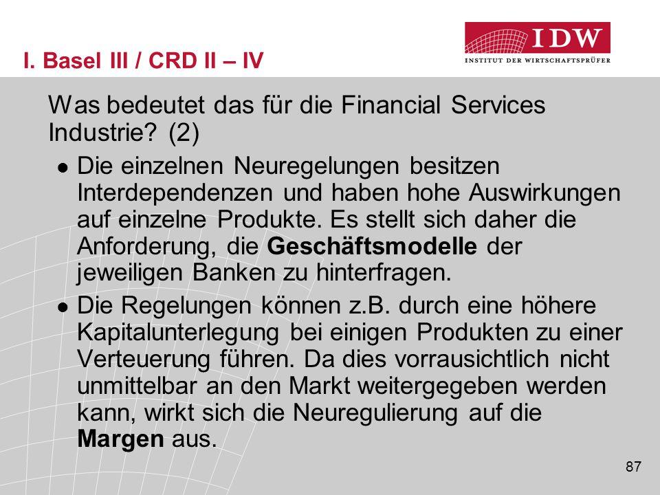 87 I.Basel III / CRD II – IV Was bedeutet das für die Financial Services Industrie.
