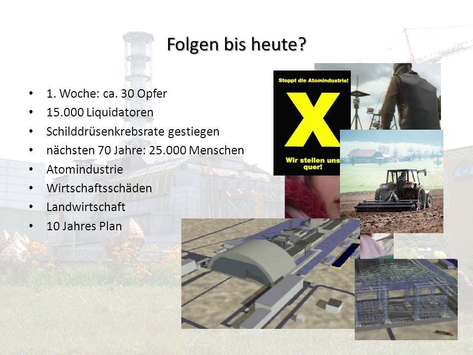 Quellen Internet: http://de.wikipedia.org/wiki/Katastrophe_von_Tschernobyl http://www.fes.de/Magdeburg/pdf/tschern.pdf http://www.reyl.de/tschernobyl/ Fernsehen: N24 Reportage: Atomtod in Tschernobyl VOX Reportage: Minuten der Entscheidung