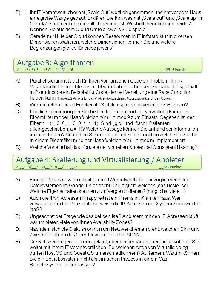 Aufgabe 3: Algorithmen A)__/2+(6) B)__/6 C)__/11 D)__/6 __/25+6 Punkte Aufgabe 3: Algorithmen A)__/2+(6) B)__/6 C)__/11 D)__/6 __/25+6 Punkte A)Parallelisierung ist auch für Ihren vorhandenen Code ein Problem.