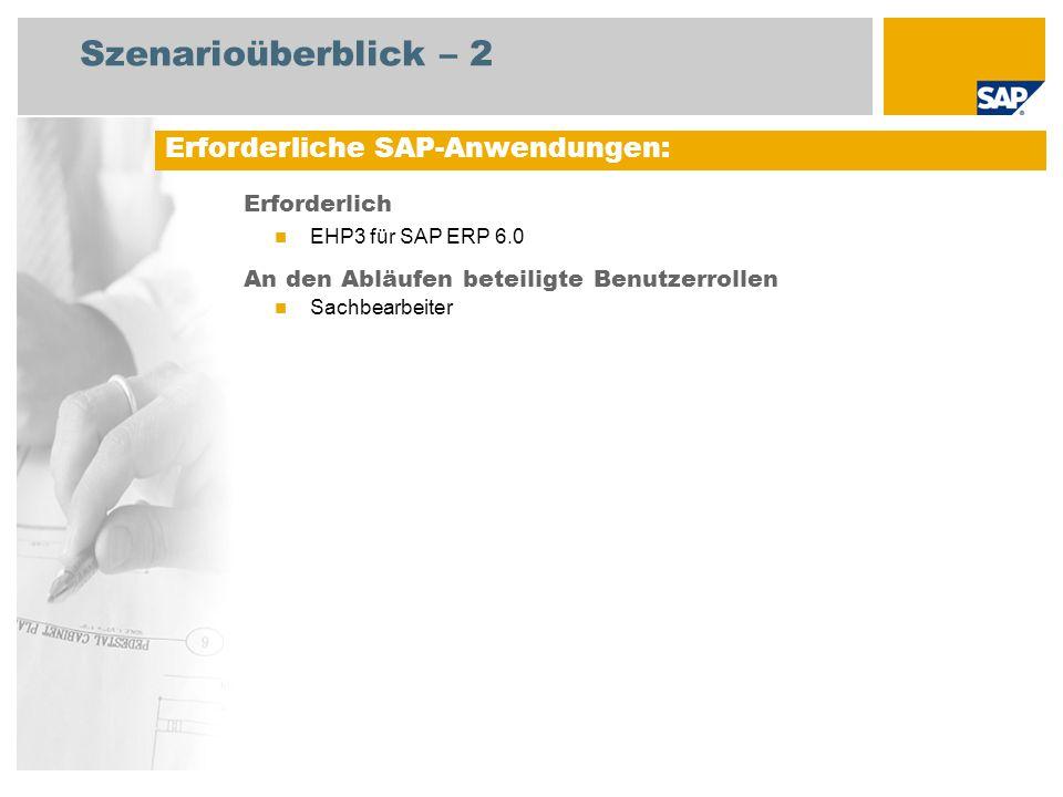 Szenarioüberblick – 2 Erforderlich EHP3 für SAP ERP 6.0 An den Abläufen beteiligte Benutzerrollen Sachbearbeiter Erforderliche SAP-Anwendungen: