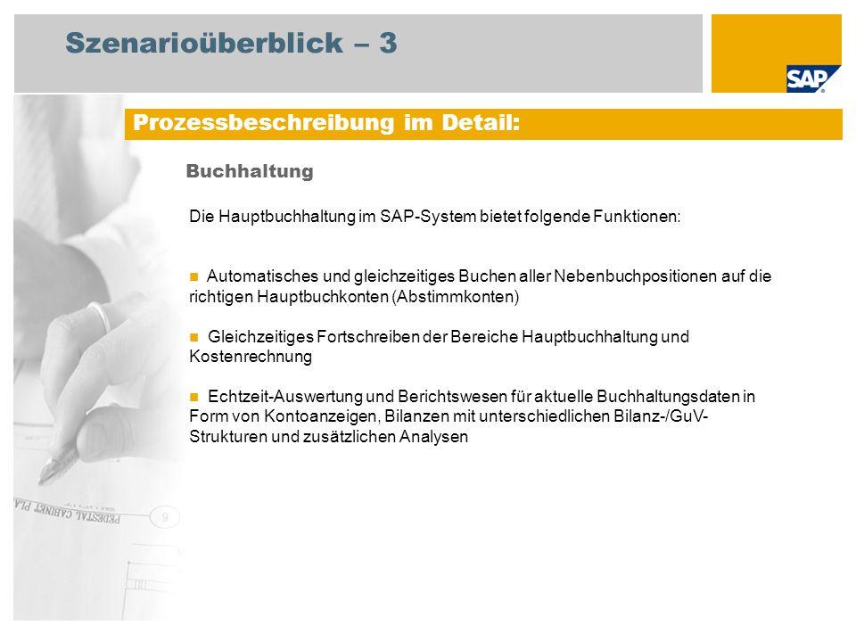 Szenarioüberblick – 3 Buchhaltung Prozessbeschreibung im Detail: Die Hauptbuchhaltung im SAP-System bietet folgende Funktionen: Automatisches und glei