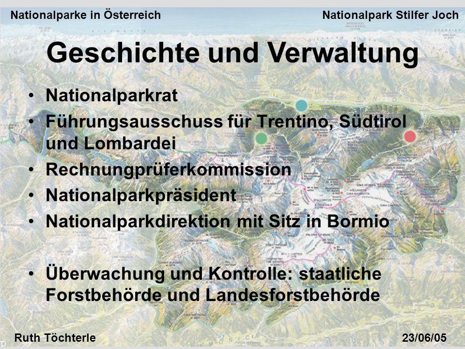 Nationalparke in Österreich Nationalpark Stilfer Joch Ruth Töchterle23/06/05 Nationalparkrat Führungsausschuss für Trentino, Südtirol und Lombardei Re
