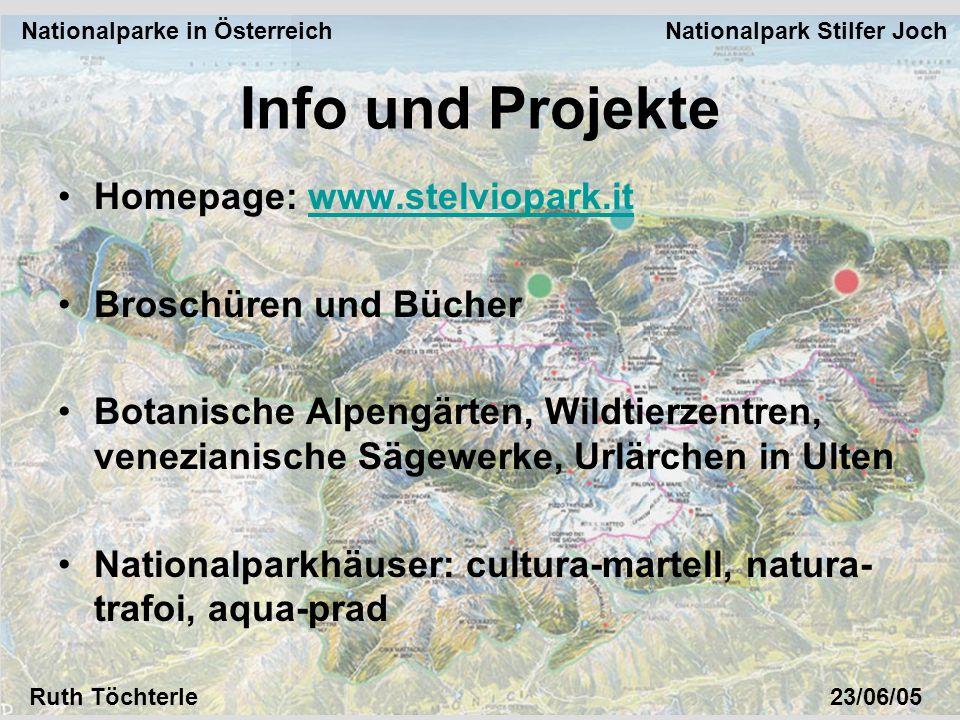 Nationalparke in Österreich Nationalpark Stilfer Joch Ruth Töchterle23/06/05 Homepage: www.stelviopark.itwww.stelviopark.it Broschüren und Bücher Bota