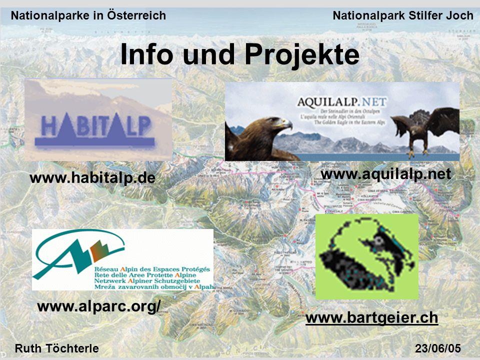 Nationalparke in Österreich Nationalpark Stilfer Joch Ruth Töchterle23/06/05 Info und Projekte www.bartgeier.ch www.alparc.org/ www.habitalp.de www.aquilalp.net