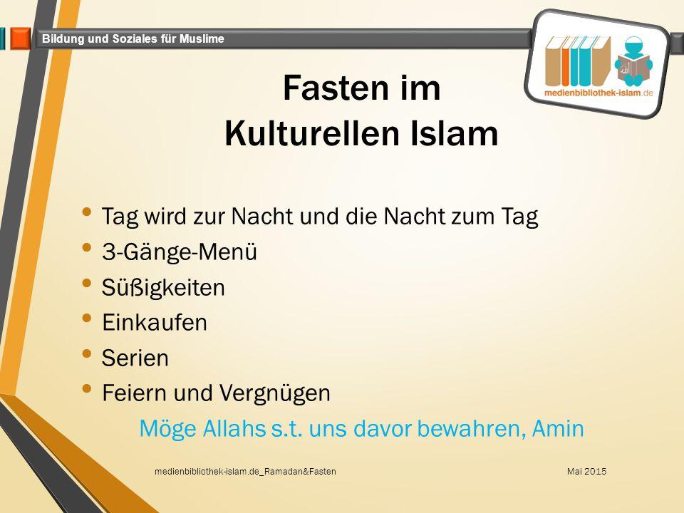 Bildung und Soziales für Muslime Fasten im Kulturellen Islam Tag wird zur Nacht und die Nacht zum Tag 3-Gänge-Menü Süßigkeiten Einkaufen Serien Feiern