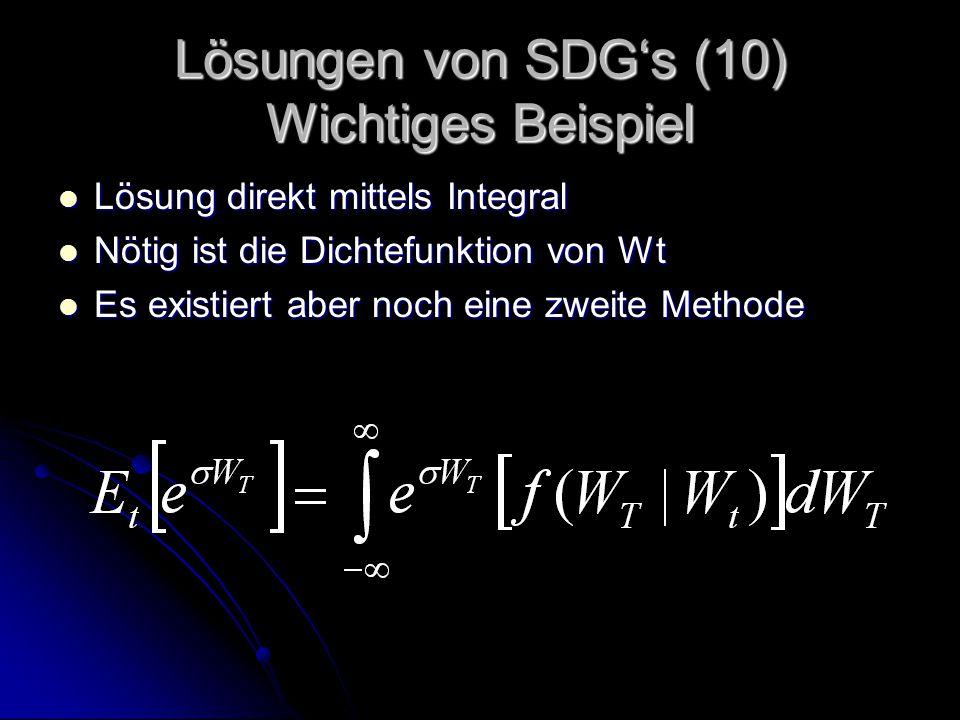 Lösungen von SDG's (10) Wichtiges Beispiel Lösung direkt mittels Integral Lösung direkt mittels Integral Nötig ist die Dichtefunktion von Wt Nötig ist die Dichtefunktion von Wt Es existiert aber noch eine zweite Methode Es existiert aber noch eine zweite Methode