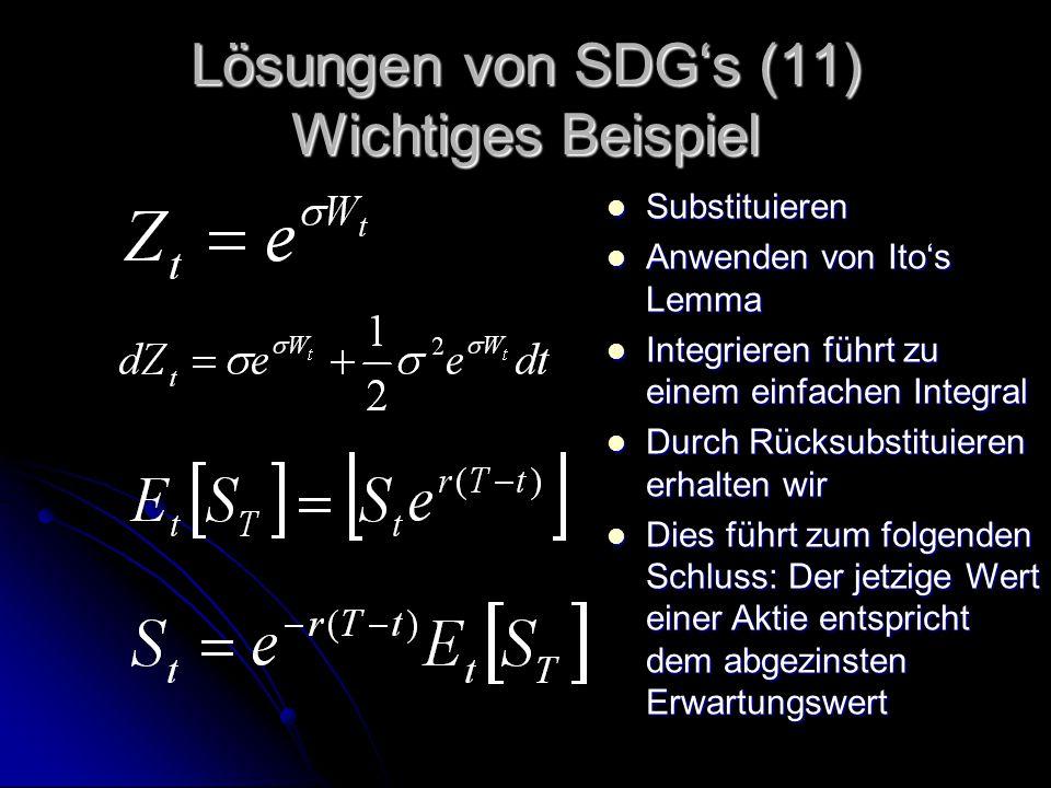 Lösungen von SDG's (11) Wichtiges Beispiel Substituieren Substituieren Anwenden von Ito's Lemma Anwenden von Ito's Lemma Integrieren führt zu einem einfachen Integral Integrieren führt zu einem einfachen Integral Durch Rücksubstituieren erhalten wir Durch Rücksubstituieren erhalten wir Dies führt zum folgenden Schluss: Der jetzige Wert einer Aktie entspricht dem abgezinsten Erwartungswert Dies führt zum folgenden Schluss: Der jetzige Wert einer Aktie entspricht dem abgezinsten Erwartungswert