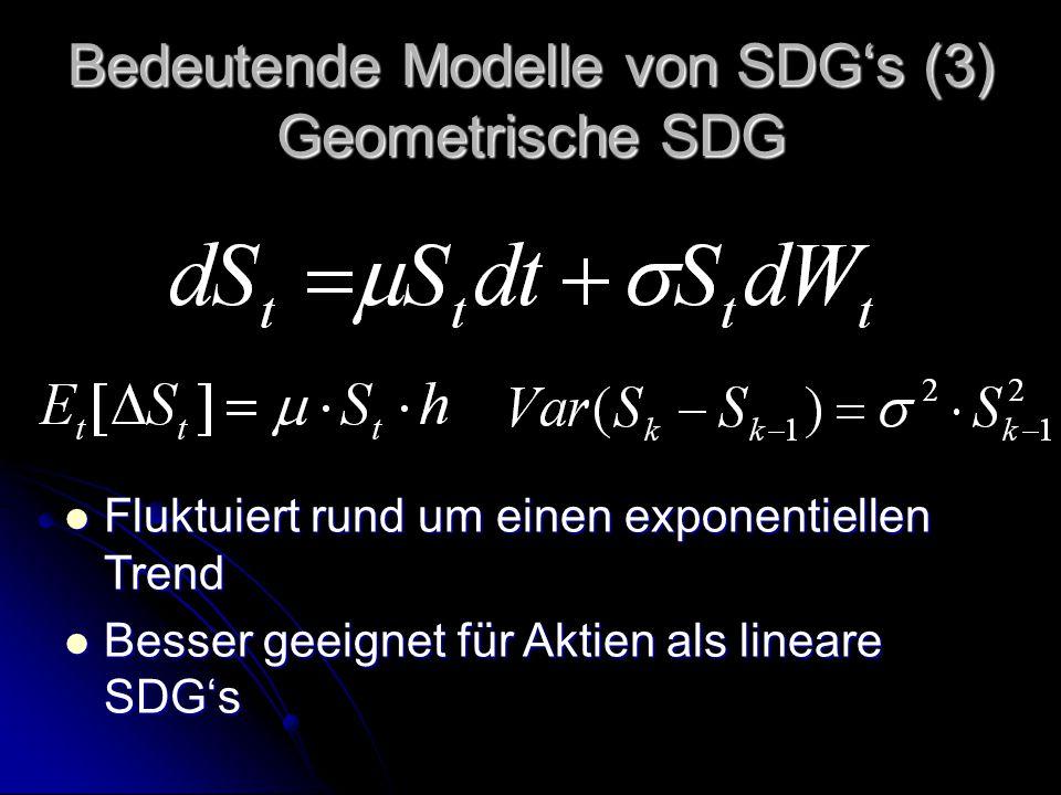 Bedeutende Modelle von SDG's (3) Geometrische SDG Fluktuiert rund um einen exponentiellen Trend Fluktuiert rund um einen exponentiellen Trend Besser geeignet für Aktien als lineare SDG's Besser geeignet für Aktien als lineare SDG's