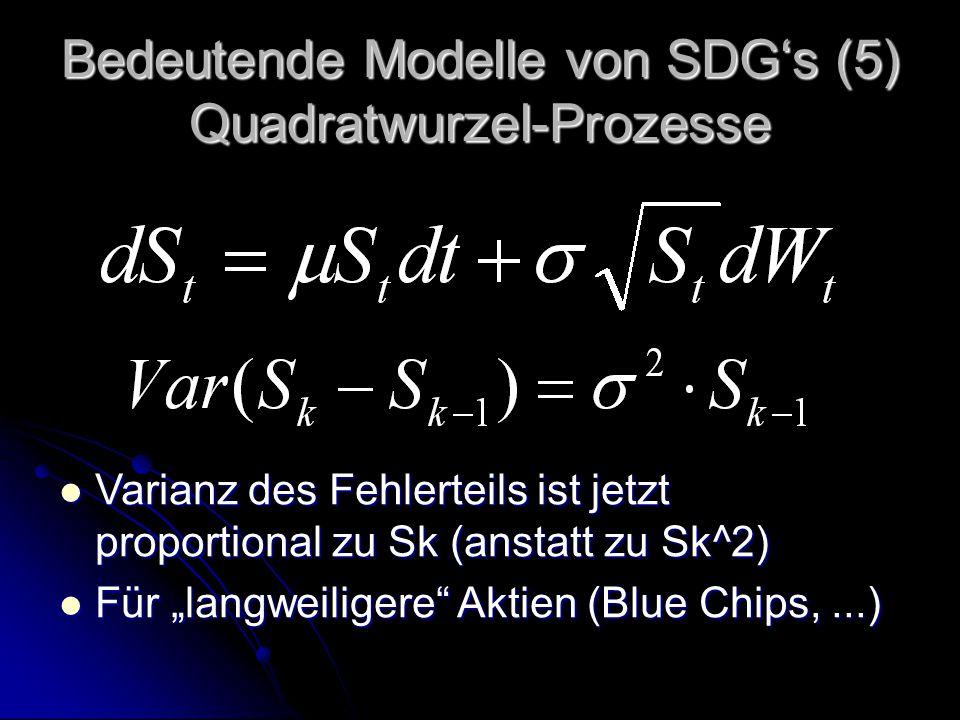 """Bedeutende Modelle von SDG's (5) Quadratwurzel-Prozesse Varianz des Fehlerteils ist jetzt proportional zu Sk (anstatt zu Sk^2) Varianz des Fehlerteils ist jetzt proportional zu Sk (anstatt zu Sk^2) Für """"langweiligere Aktien (Blue Chips,...) Für """"langweiligere Aktien (Blue Chips,...)"""