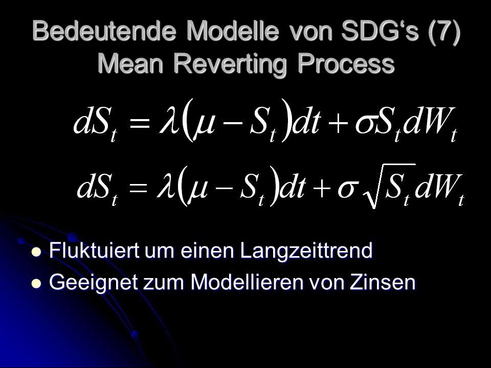 Bedeutende Modelle von SDG's (7) Mean Reverting Process Fluktuiert um einen Langzeittrend Fluktuiert um einen Langzeittrend Geeignet zum Modellieren von Zinsen Geeignet zum Modellieren von Zinsen
