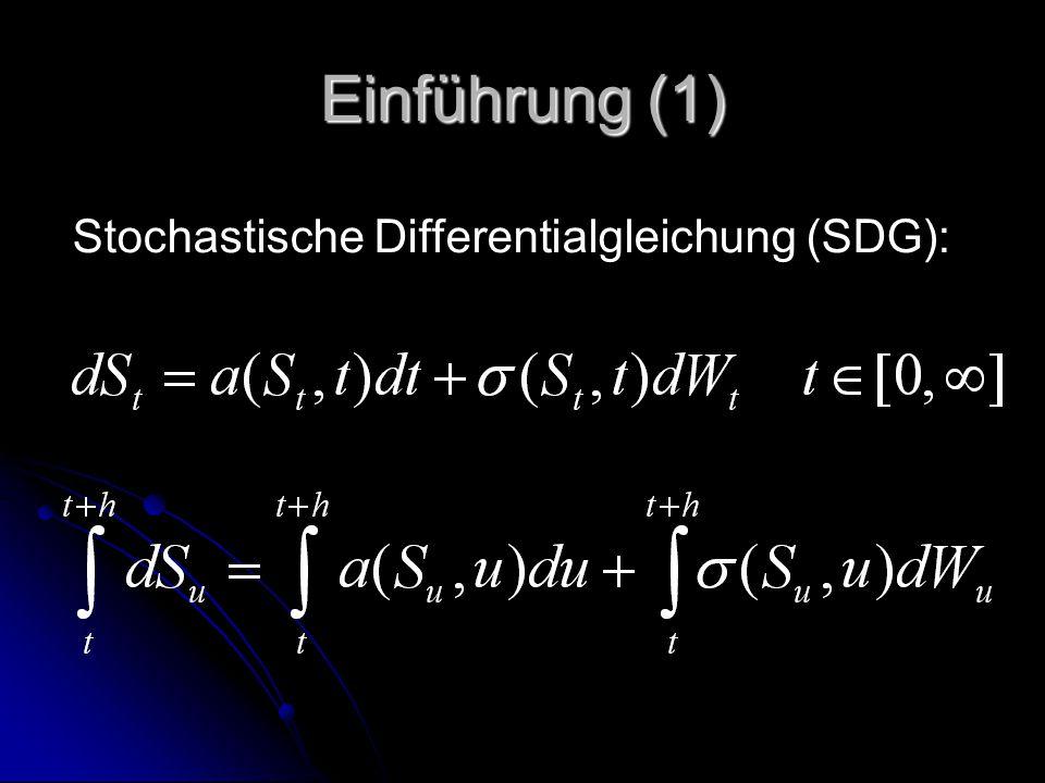 Einführung (2) Verschiedene Marktteilnehmer können verschiedene Funktionen a(St,t) und σ(St,t) Verschiedene Marktteilnehmer können verschiedene Funktionen a(St,t) und σ(St,t) Abhängig von der Menge an Informationen Abhängig von der Menge an Informationen Z.B.: Insider Informationen und Kenntnis aller zufälligen Ereignisse, die den Marktpreise beeinflussen (kein Diffusionsterm): dSt=a*(St,t)dt Z.B.: Insider Informationen und Kenntnis aller zufälligen Ereignisse, die den Marktpreise beeinflussen (kein Diffusionsterm): dSt=a*(St,t)dt Normaler Marktteilnehmer: dSt=a(St,t)dt+σ(St,t)dWt Normaler Marktteilnehmer: dSt=a(St,t)dt+σ(St,t)dWt Wobei a*≠a Wobei a*≠a
