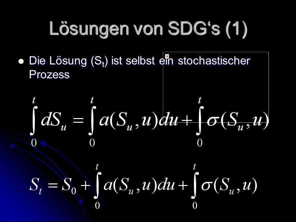 Lösungen von SDG's (2) Starke Lösung: Starke Lösung: W t bekannt (Fehlerteil) W t bekannt (Fehlerteil) Ähnlich wie bei normalen Differentialgleichungen Ähnlich wie bei normalen Differentialgleichungen Hängt ab von t und W t (und von den Parametern) Hängt ab von t und W t (und von den Parametern)