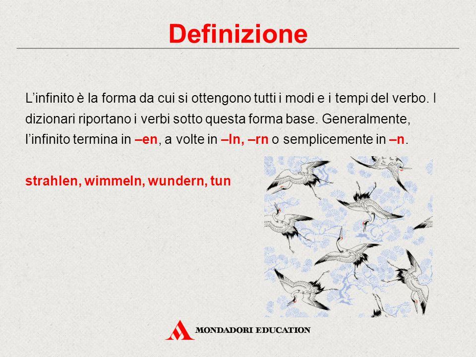 Definizione L'infinito è la forma da cui si ottengono tutti i modi e i tempi del verbo.