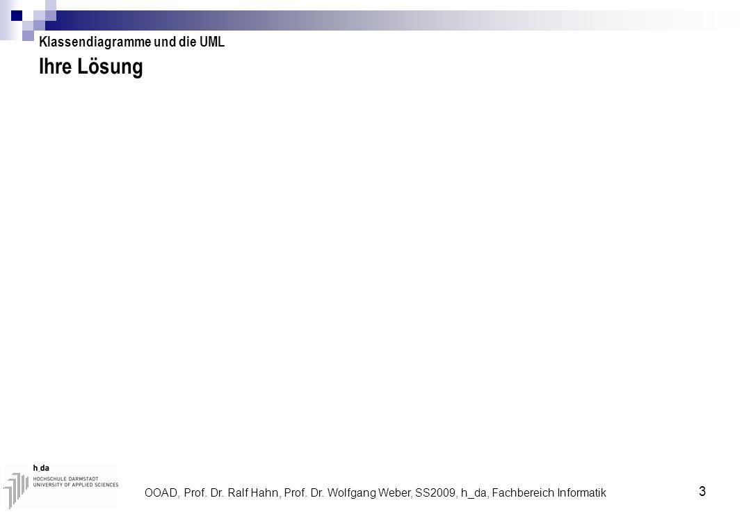 OOAD, Prof. Dr. Ralf Hahn, Prof. Dr. Wolfgang Weber, SS2009, h_da, Fachbereich Informatik 3 Ihre Lösung Klassendiagramme und die UML