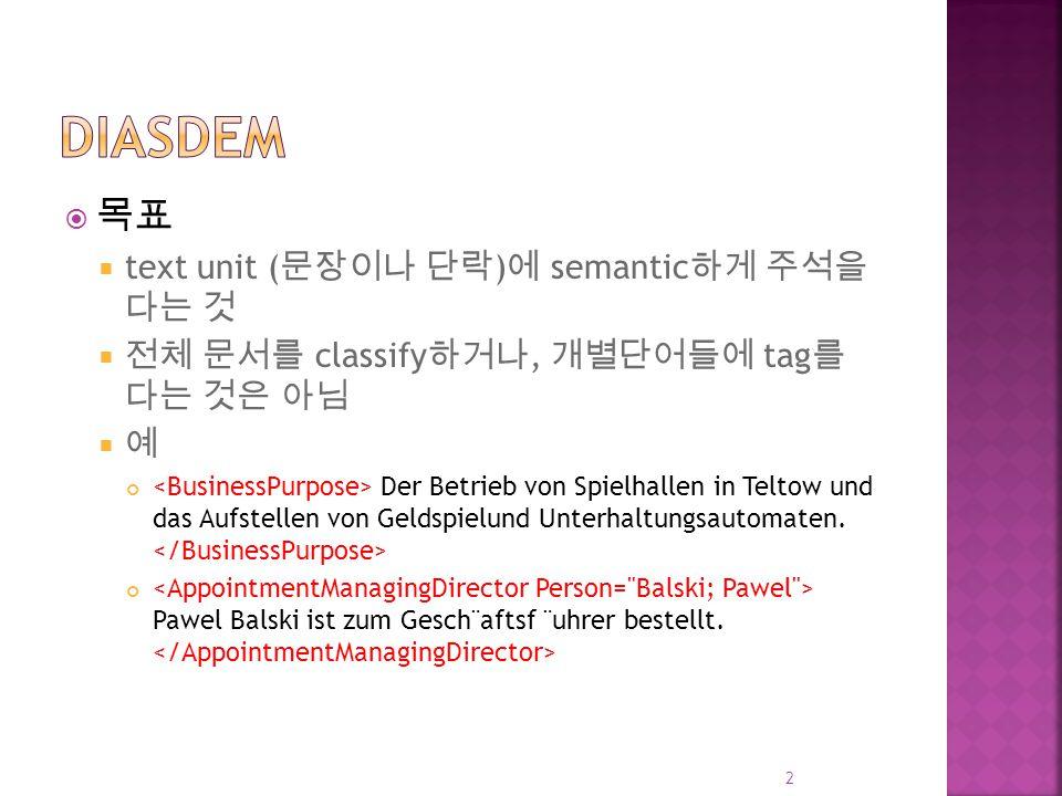  목표  text unit ( 문장이나 단락 ) 에 semantic 하게 주석을 다는 것  전체 문서를 classify 하거나, 개별단어들에 tag 를 다는 것은 아님  예 Der Betrieb von Spielhallen in Teltow und das Aufstellen von Geldspielund Unterhaltungsautomaten.