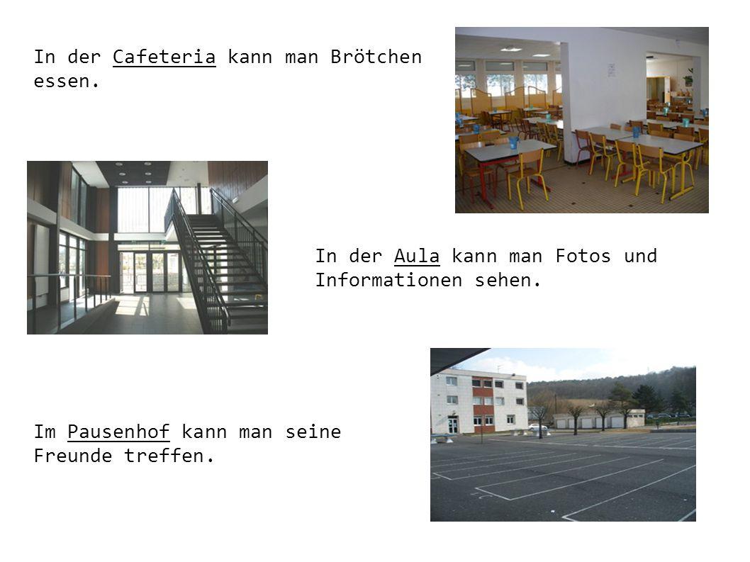 In der Cafeteria kann man Brötchen essen. In der Aula kann man Fotos und Informationen sehen. Im Pausenhof kann man seine Freunde treffen.