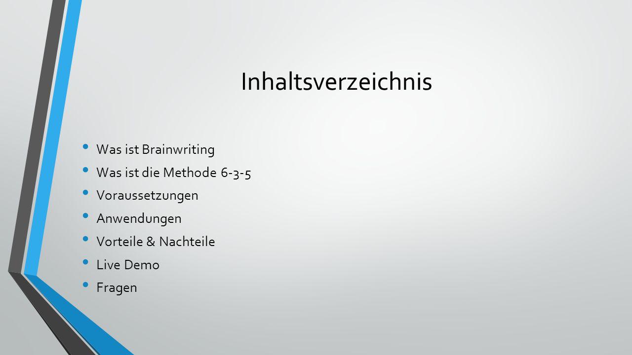 Was ist Brainwriting Problemlösungsverfahren Kreativitätstechnik Schriftlich Methode 6-3-5 Wildes Ideensammeln Untereinander austauschen