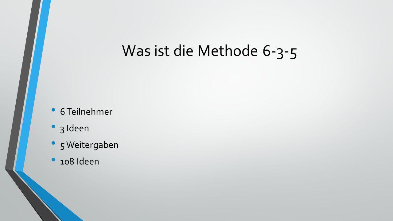 Voraussetzungen 6 Teilnehmer 1 Moderator 6 Blätter Papier
