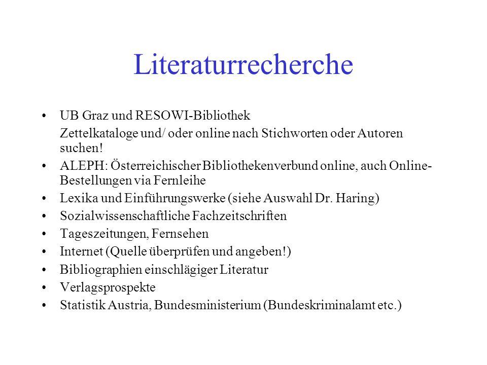 Literaturrecherche UB Graz und RESOWI-Bibliothek Zettelkataloge und/ oder online nach Stichworten oder Autoren suchen.