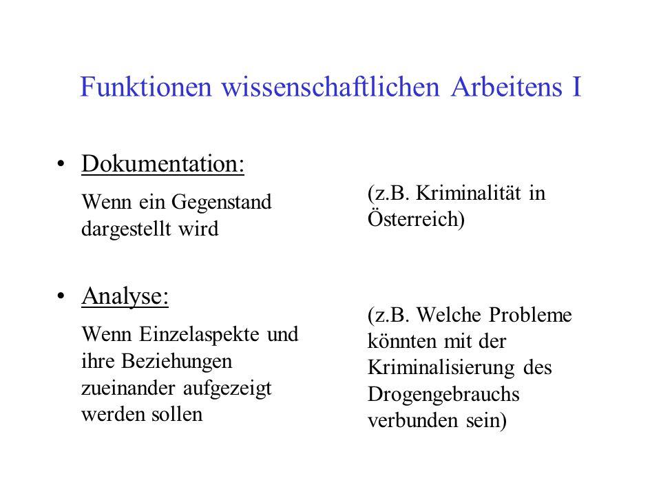 Funktionen wissenschaftlichen Arbeitens I Dokumentation: Wenn ein Gegenstand dargestellt wird Analyse: Wenn Einzelaspekte und ihre Beziehungen zueinan