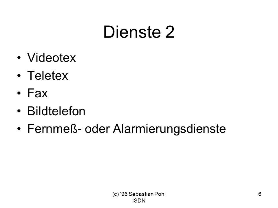 (c) 96 Sebastian Pohl ISDN 6 Dienste 2 Videotex Teletex Fax Bildtelefon Fernmeß- oder Alarmierungsdienste