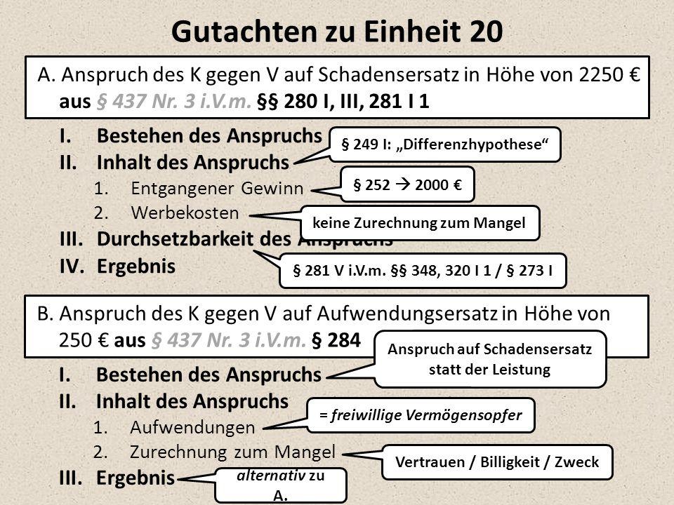 B. Anspruch des K gegen V auf Aufwendungsersatz in Höhe von 250 € aus § 437 Nr. 3 i.V.m. § 284 I.Bestehen des Anspruchs II.Inhalt des Anspruchs 1.Entg