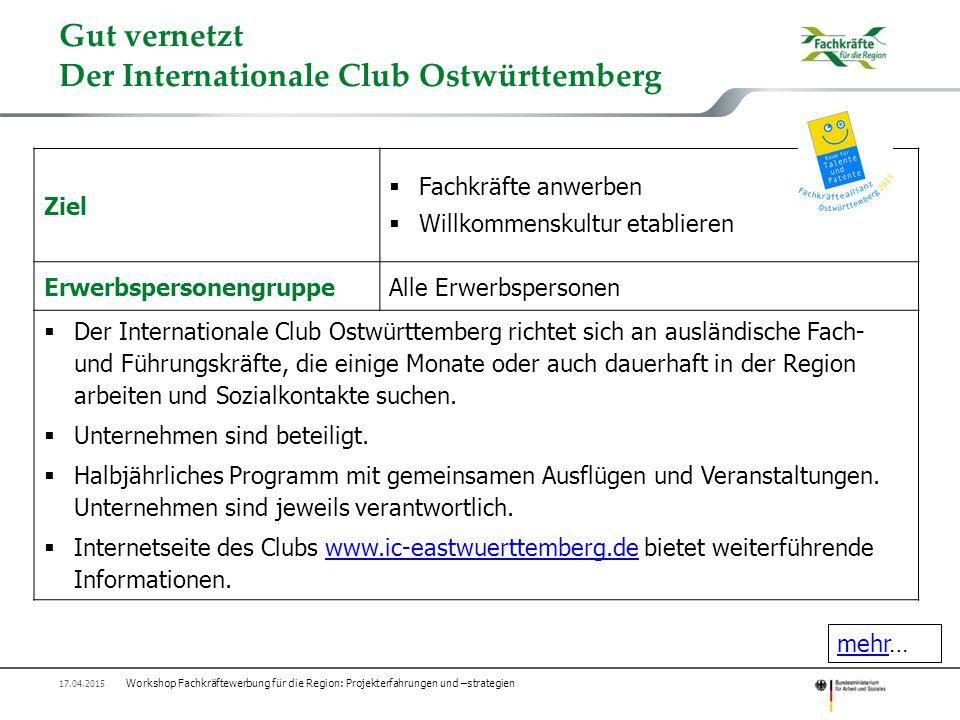 Gut vernetzt Der Internationale Club Ostwürttemberg Ziel  Fachkräfte anwerben  Willkommenskultur etablieren ErwerbspersonengruppeAlle Erwerbspersone