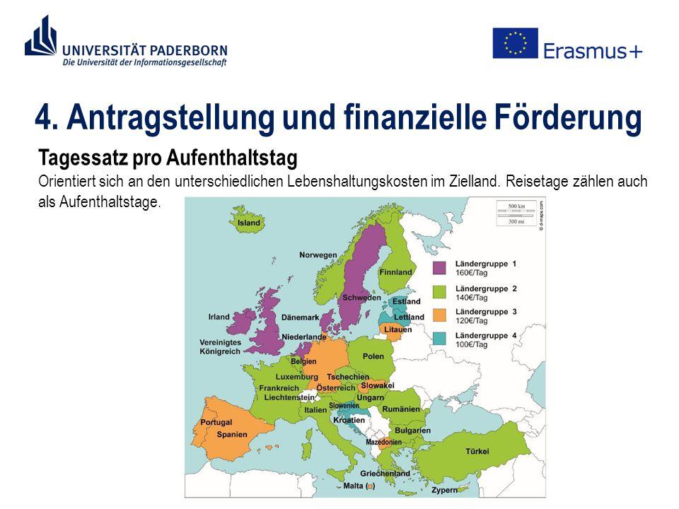 4. Antragstellung und finanzielle Förderung Tagessatz pro Aufenthaltstag Orientiert sich an den unterschiedlichen Lebenshaltungskosten im Zielland. Re