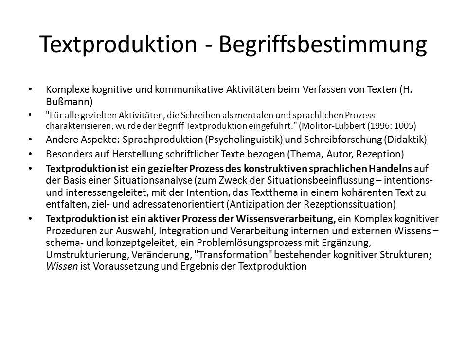 Textproduktion - Begriffsbestimmung Komplexe kognitive und kommunikative Aktivitäten beim Verfassen von Texten (H.