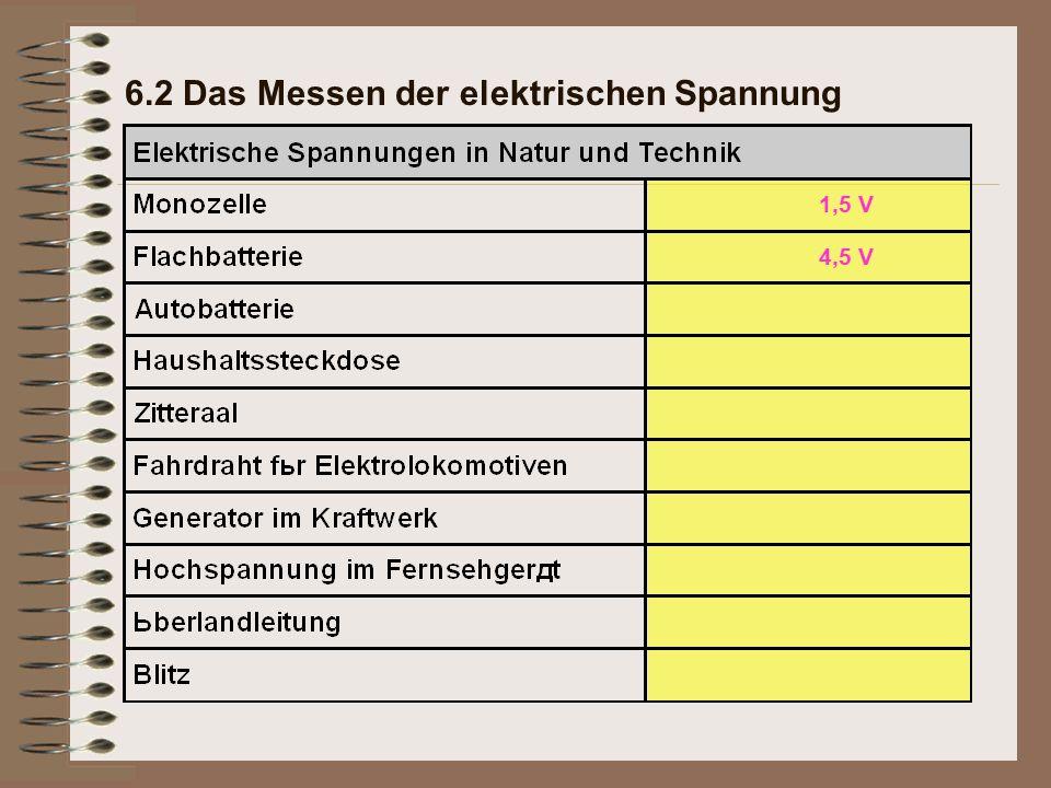 6.2 Das Messen der elektrischen Spannung 1,5 V 4,5 V