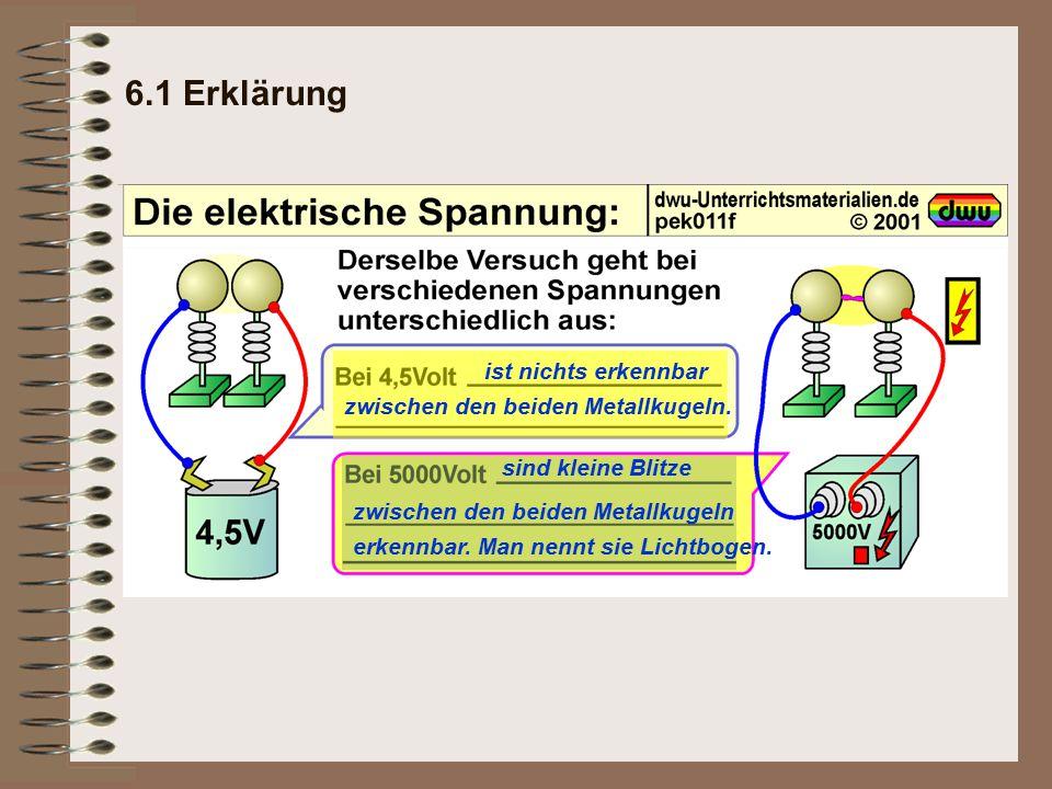 6.1 Erklärung ist nichts erkennbar zwischen den beiden Metallkugeln.