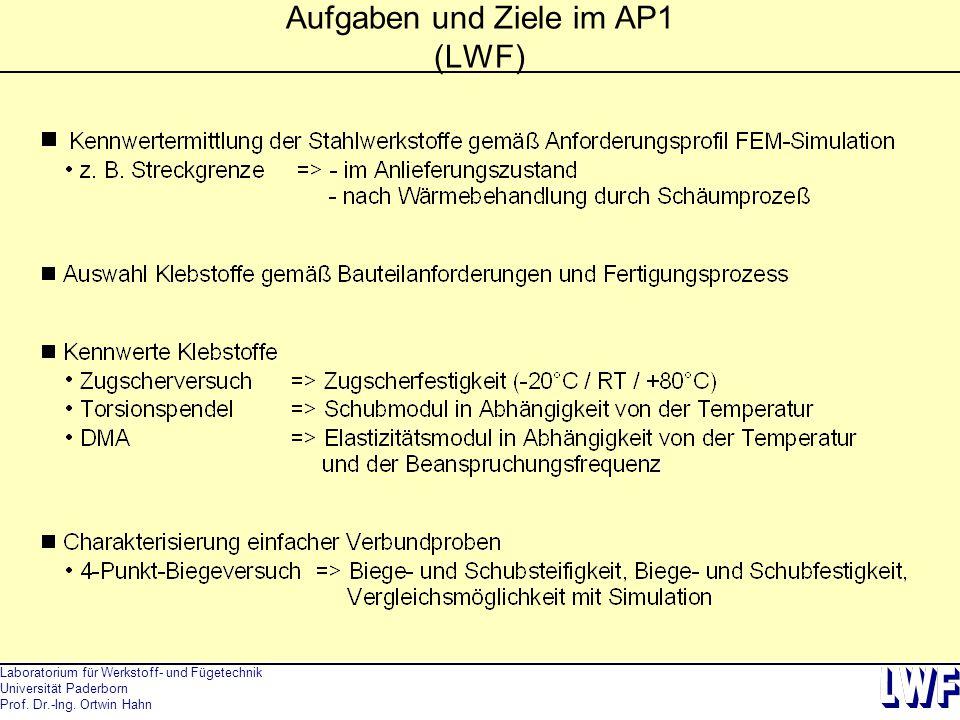 Laboratorium für Werkstoff- und Fügetechnik Universität Paderborn Prof. Dr.-Ing. Ortwin Hahn Aufgaben und Ziele im AP1 (LWF)