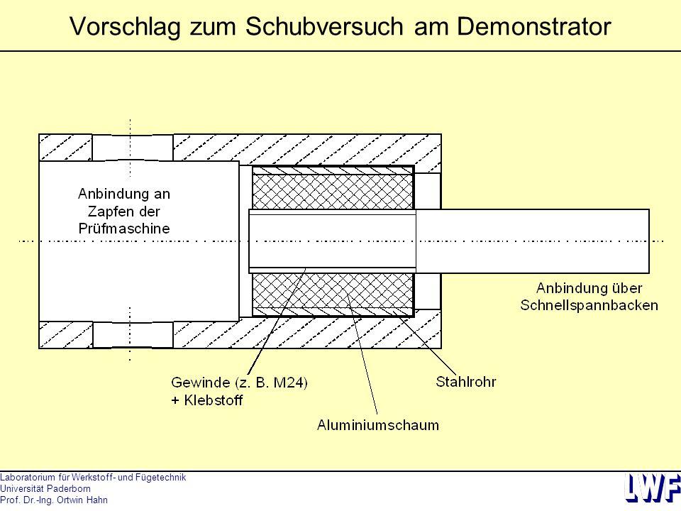 Laboratorium für Werkstoff- und Fügetechnik Universität Paderborn Prof. Dr.-Ing. Ortwin Hahn Vorschlag zum Schubversuch am Demonstrator