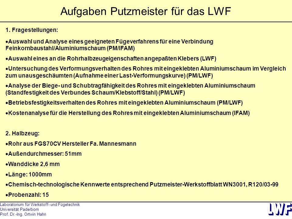 Laboratorium für Werkstoff- und Fügetechnik Universität Paderborn Prof. Dr.-Ing. Ortwin Hahn Aufgaben Putzmeister für das LWF 1. Fragestellungen:  Au