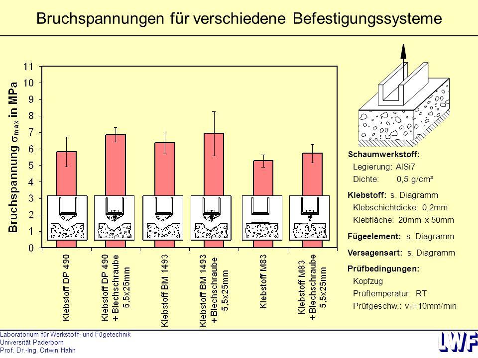 Laboratorium für Werkstoff- und Fügetechnik Universität Paderborn Prof. Dr.-Ing. Ortwin Hahn Bruchspannungen für verschiedene Befestigungssysteme Scha