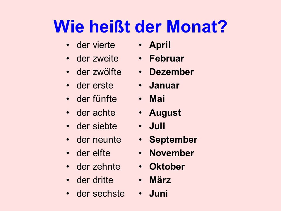 Prepositions (pre=before) am – in front of dates im – in front of semesters, seasons, months