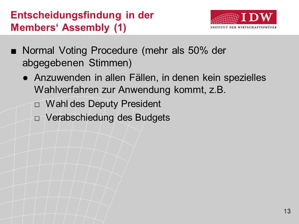 13 Entscheidungsfindung in der Members' Assembly (1) ■Normal Voting Procedure (mehr als 50% der abgegebenen Stimmen) ●Anzuwenden in allen Fällen, in denen kein spezielles Wahlverfahren zur Anwendung kommt, z.B.