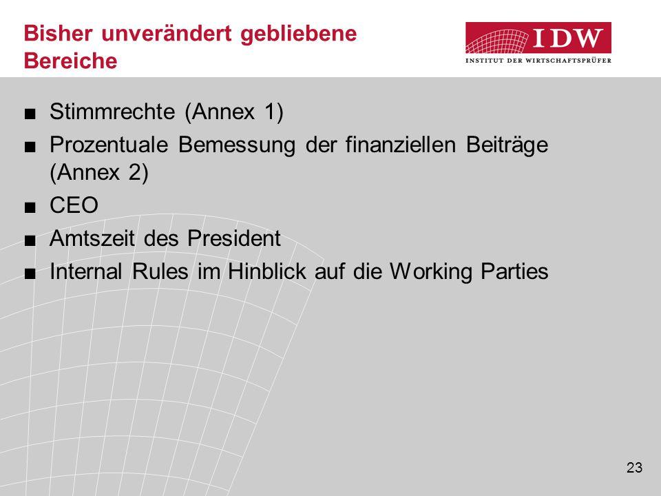 23 Bisher unverändert gebliebene Bereiche ■Stimmrechte (Annex 1) ■Prozentuale Bemessung der finanziellen Beiträge (Annex 2) ■CEO ■Amtszeit des President ■Internal Rules im Hinblick auf die Working Parties