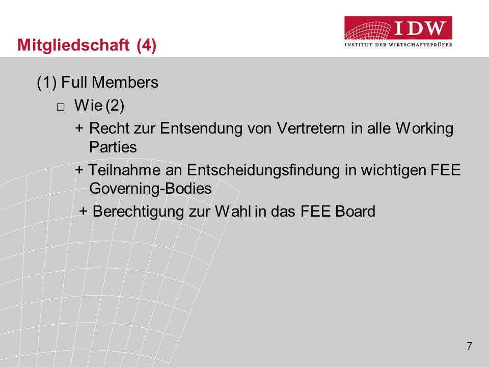 7 Mitgliedschaft (4) (1)Full Members □Wie (2) +Recht zur Entsendung von Vertretern in alle Working Parties + Teilnahme an Entscheidungsfindung in wichtigen FEE Governing-Bodies + Berechtigung zur Wahl in das FEE Board